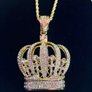 Other - CROWN DIAMONDS CZ 18K GOLD CHAIN ITALY